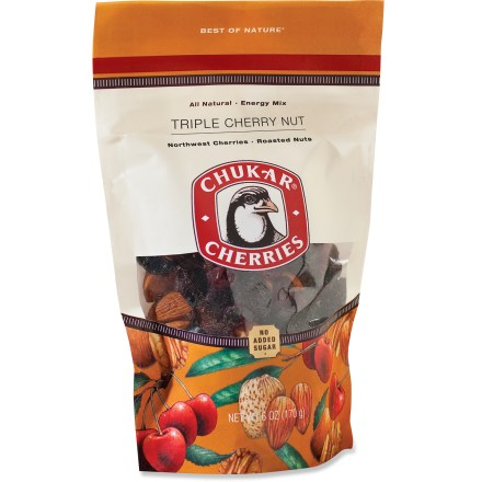 Camp and Hike Keep a bag of the Chukar Cherries Energy snack mix close by for a delicious pick-me-up when you're on the trail or working hard at the office. Berry and Pistachio flavor combines dried bing cherries and cranberries with roasted pistachios. Nuts over Bings flavor includes bing cherries, pecans, cashews, almonds and a pinch of salt. Chunky Cherry Nut flavor mixes almonds, pecans and dark chocolate chunks with bing and Rainier cherries. Triple Cherry Nut flavor combines dried bing, Rainier and totally tart cherries with roasted almonds and pecans. *Discount will be applied when you check out; offer not valid for sale-price items ending in $._3 or $._9. - $6.93