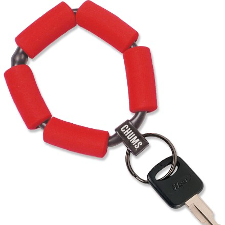 The Chums Floating keychain prevents keys from sinking to the bottom. Keychain wraps comfortably around wrist. If lost in water, keychain floats; bright red foam rings make it easy to locate. Floats up to 1 oz. or 2 keys. - $3.93