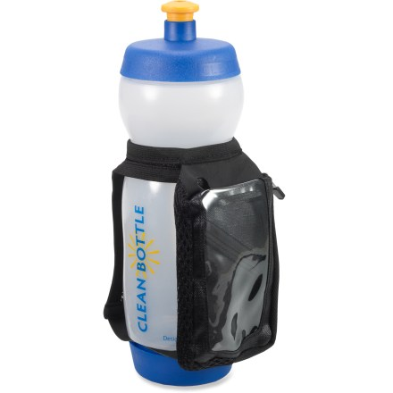 Camp and Hike The clever Clean Bottle The Runner Water Bottle and Holder lets you easily access both ends of the bottle for quick, thorough cleanings, and also carries your smartphone while you run. Clean Bottle features a patent-pending, leakproof, screw-off bottom for easy access to the whole bottle for cleaning. Made with 100% non-toxic, BPA-free plastics. The Runner bottle holder is made of nylon, vinyl and elastic. Media pocket fits iPhones, iPods and smartphones approximately 5 x 2.5 in. The Runner bottle holder weighs approximately 1 oz. Overstock. - $9.93