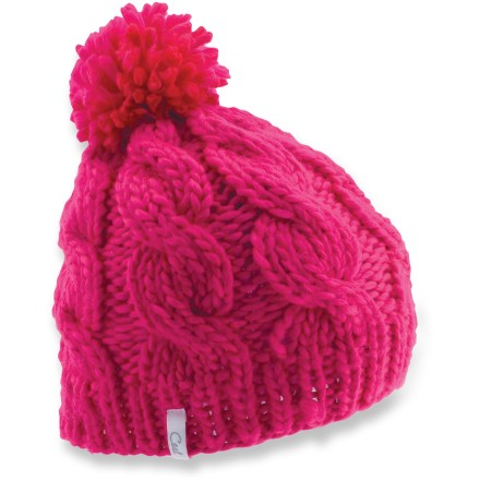 Entertainment The timeless look of the Coal Rosa beanie has a chunky cable knit and a pom-pom on top. Silky acrylic yarn is warm and comfortable next to skin. - $20.93