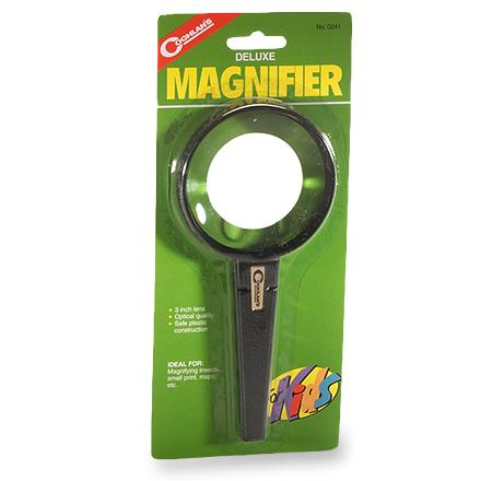 Camp and Hike Kids can get a closer look at this world of ours with this magnifying glass. Great for magnifying insects and everything else that children find fascinating. Features a three-inch lens offering high optical quality. Durable plastic construction. - $9.00