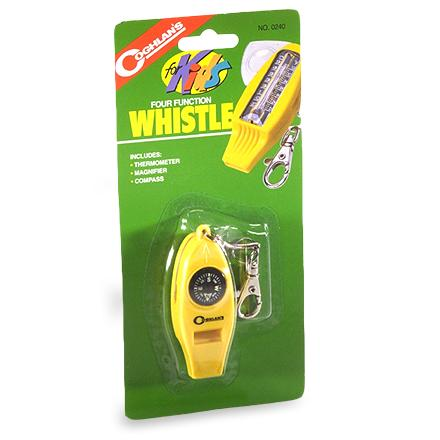 Camp and Hike This ambitious little whistle also offers a compass, thermometer and magnifier for young explorers. Great tool to help kids learn the basics of outdoor exploration. Includes a clip for attachment to belt loop, pack or school bag. - $4.50