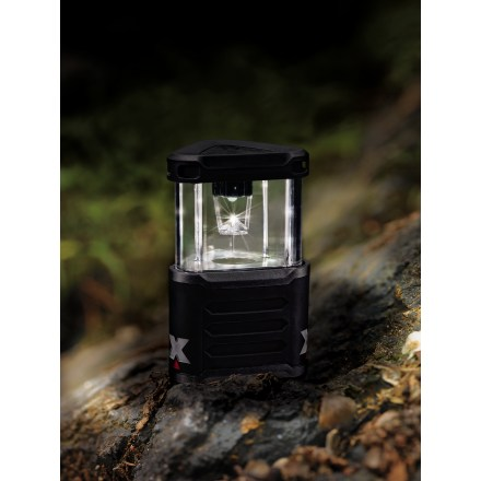 Camp and Hike Light up your campsite with the bright Coleman Exponent Pack-Away LED lantern. Lantern packs into itself for compact storage during travel; simply pull up to expand the lantern for use. Weather-resistant body ensures operation in nearly any condition. LEDs cast even, white light, are nearly indestructible and significantly extend battery life compared to incandescent bulbs. Rubberized outer shell provides a sure grip. 4-position switch offers high, low, emergency strobe and off settings. Integrated wire hanging loop and included mini carabiner let you to hang lantern in a tent or from a tree branch. 3 CR123A batteries (included) provide 12 hrs. of illumination on low and 5 hrs. on high. Closeout. - $30.83