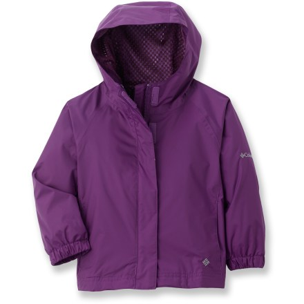 The Columbia Lake of Lace rain jacket is a light, easily packable, windproof and water-resistant choice for young girls and their outdoor adventures. Omni-Shield(R) coated nylon shell and sealed critical seams offer protection from the rain. Attached, adjustable hood provides on-the-spot coverage from inclement weather. The Columbia Lake of Lace rain jacket features hand pockets and a zippered security pocket. - $19.83