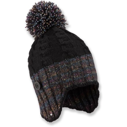 Entertainment The cute Columbia Twilight Ride Earflap beanie is made of a soft, non-irritating fabric blend to keep your head warm during cold months. Easy-care acrylic and polyester combine with wool for optimum warmth. Button-up earflaps. - $5.83