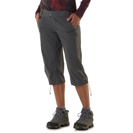 Camp and Hike With easy 2-way stretch and an active fit, the Columbia Saturday Trail Stretch Knee Pants will be a comfortable companion on the trail and off. Soft, lightweight nylon fabric resists wind and water, yet maintains breathability for comfort in warm weather; features Omni-Shield(TM) advanced water repellency. With a UPF 50+ rating, fabric provides excellent protection against harmful ultraviolet rays. Includes flat waistband, zip fly, button closure and belt loops. Leg hems cinch down for active movement and loosen for more casual activities. Mesh hand pocket bags facilitate ventilation and dry quickly. Saturday Trail pants also feature 2 rear pockets. - $50.00