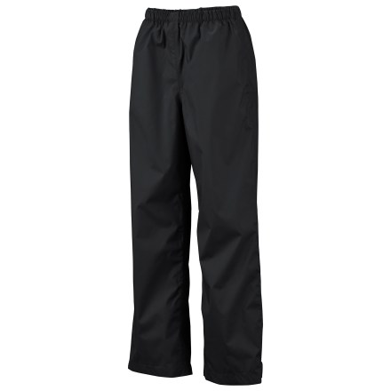 The waterproof Columbia Trail Adventure rain pants are perfect for swishing past wet grass along the trail or splashing through puddles on a neighborhood walk. Polyester shell pants feature a Omni-Tech(R) waterproof breathable coating and fully sealed seams; nylon taffeta glides over base layers. Pants can be pulled easily over shorts or long pants; adjustable leg openings allow you to personalize the length and tightness of the cuffs. The Columbia Trail Adventure rain pants feature a comfortable elastic waist. - $14.83