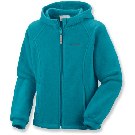Entertainment The Columbia Benton Springs fleece hoodie keeps your little one warm and cozy when the temperature drops. Soft polyester fleece fabric dries quickly and continues to insulate when wet. Hood keeps the cold away. Zippered hand pockets warm chilled fingers. Closeout. - $13.83