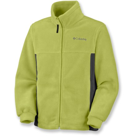 Fitness The Columbia Sportswear Steens Mountain fleece jacket is a great choice for cold-weather outings. Keep him warm while running to the market or coffee shop. MTR(TM) polyester fleece provides lofty, warm insulation that dries quickly and continues to insulate even when damp. Zippered, fleece-lined handwarmer pockets warm chilled fingers. Full-zip front with a stand-up collar. Closeout. - $13.83