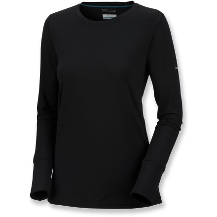 The Columbia Anytime Long-Sleeve crew is built for hard-charging workouts. Stay comfortable in this shirt. Polyester/elastane blend fabric is moisture wicking and quick drying. Comfortable 4-way stretch provides full range of movement; UPF 15 sun protection shields skin from harmful ultraviolet rays. Front and rear yoke and sleeve tops feature a nylon/elastane pique fabric. A hint of texture, strategic pop-stitching and thumbholes at cuffs score style points. Body-skimming fit. Closeout. - $16.83