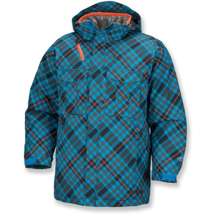 Snowboard The Columbia Rugged Peak Snowsports jacket lets your boy head out into the cold, ready for whatever weather they may encounter. Omni-Tech(R) nylon shell delivers waterproof/breathable protection; soft polyester taffeta lining easily slides over a base layer. Jacket is fully seam sealed. Omni-Heat(R) thermal insulation will keep him warm. Removable storm hood keeps the rain and snow at bay. Adjsutable powder skirt keeps the snow out when they're making turns. Columbia Rugged Peak jacket features an interior security pocket and a media pocket with cord management. 2 chest pockets and zippered handwarmer pockets. Rip-and-stick cuffs seal out the cold. Closeout. - $55.73