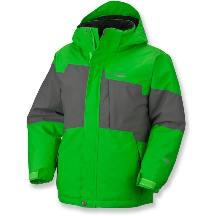 Snowboard The Columbia Droid Tech jacket for boys offers great protection for his next wet, cold winter adventure. Waterproof, breathable nylon shell with Omni-Tech(TM) coating helps keep him dry. Polyester lining eases layering and manages internal moisture. Omni-Heat(TM) polyester fiber insulation offers plenty of warmth without adding a lot of bulkiness. Detachable storm hood has volume adjustment to seal out the elements. Internal powder skirt helps seal out cold air and wet snow while retaining valuable heat. Columbia Droid Tech jacket features zippered handwarmer pockets, chest pocket, internal security pocket and goggles pocket. Closeout. - $72.93