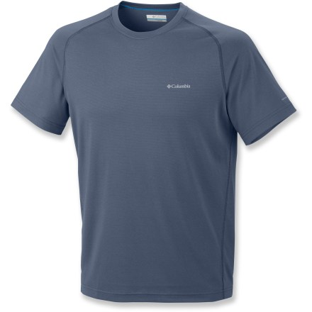 Camp and Hike Don't let your shirt slow you down! The lightweight Columbia Mountain Tech III Crew shirt is constructed to keep you comfortable while you get after it in the great outdoors. Polyester jersey fabric wicks moisture off your skin to keep you comfortable on active pursuits. With a UPF 15 rating, fabric provides good protection against harmful ultraviolet rays. Antimicrobial finish helps reduce odors. The Columbia Mountain Tech III Crew shirt has an active fit. - $14.83