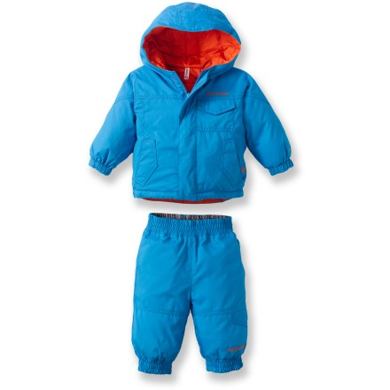 Snowboard This snuggly, faux-down Columbia Jack Frosty jacket and pants set offers 4 adorable outfits in 1-both the jacket and pants are reversible for versatility on the sledding hill. Recycled polyester shell fabric with Omni-Shield(R) advanced repellency provides protection from light rain and snow. Polyester lining breathes well, wicks moisture and slides easily over layers. Polyester, faux-down insulation throughout tames cold temperatures. Hood adjusts for a snug fit; it's quilted on 1 side, and smooth on the other. Columbia Jack Frosty set features an elastic waist and cuffs to keep cold air out. Jacket features handwarmer pockets and a chest pocket; pants feature 1 cargo pocket. Closeout. - $40.83