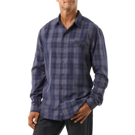 For casual wear or a day of travel, the comfortable Columbia Declination Trail(TM) long-sleeve shirt keeps you focused on the day's adventure. Polyester/polynosic modal fabric has a smooth hand and a nice drape. Single chest pocket closes with a button for small items. - $34.93