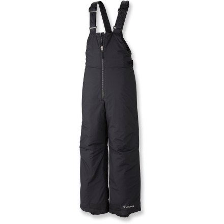 Ski The Columbia Snow Slope bib pants help protect kids from winter snow via durable fabric and practical features. Water-repellent nylon with Omni-Shield(R) advanced repellency provides a protective barrier from the elements and long-lasting wear. Polyester insulation supplies warm comfort and a trim fit. Nylon taffeta lining easily slides over layers and dries quickly. Grow cuffs extend the leg length 2 in. to keep up with your child's growth. Adjustable suspender straps and rip-and-stick tabs secure fit; large front zipper aids entry. Columbia Snow Slope bib pants feature water-resistant gaiters that fit to boots with gripper elastic to seal out the elements. - $37.93