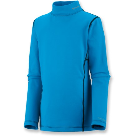 Ski The Columbia Youth Baselayer midweight top for kids offers reliable warmth and comfort against the skin while they are skiing or playing in the snow. Omni-Heat(TM) fabric is made of polyester blended with reflective-print elastane; Omni-Wick(TM) performance helps keep skin dry. The Columbia Youth Baselayer midweight top features a mock turtleneck for enhanced warmth. - $27.93