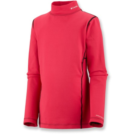 Ski The Columbia Youth Baselayer midweight top offers reliable warmth and comfort against the skin while girls are skiing or playing in the snow. Omni-Heat(TM) fabric is made of polyester blended with reflective-print elastane; Omni-Wick(TM) performance helps keep her skin dry. The Columbia Youth Baselayer midweight top features a mock turtleneck for enhanced warmth. - $27.93