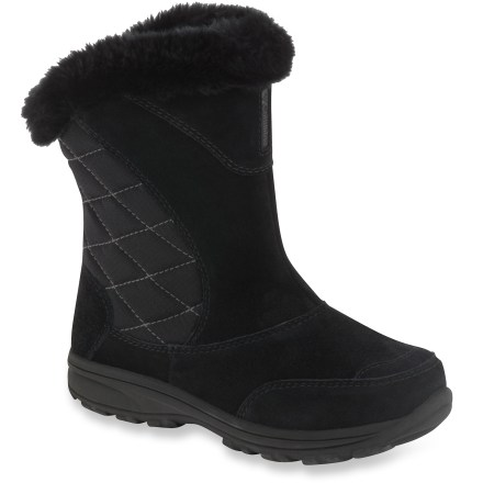 The Columbia Ice Maiden Slip winter boots are sure to make young snow enthusiasts feel like the star of their own winter fairy tale. Leather and quilted textile uppers resist water, keeping out snow and slush. 200g synthetic insulation offer comfort for conditions down to -25degF. Fleece linings and faux fur collars add warmth. Molded EVA insoles supply step-in comfort. Nylon shanks provide torsional stability and arch support for stable, confident walking on uneven ground. Nonmarking Omni-Grip(R) rubber outsoles sport winter-specific tread for snow-ready traction. Closeout. - $21.83