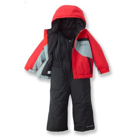 Snowboard The Columbia Snow Powder set will help keep your toddler warm and dry when he ventures out into a winter wonderland. Tough nylon shell fabric with Omni-Shield(R) advanced repellency provides protection from wet snow and light precipitation. 150g polyester insulation throughout helps tame cold temperatures. Columbia Snow Powder set features a hood that adjusts for a snug fit, reinforced cuff guards, articulated knees, and internal leg gaiters. - $44.83