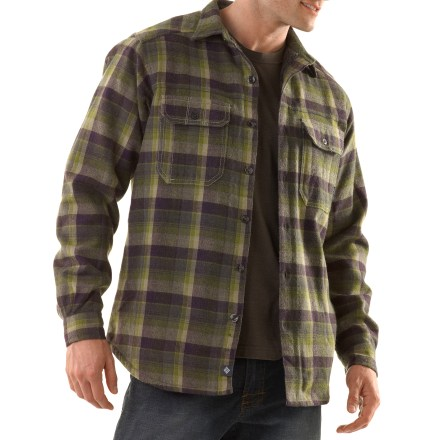 Fitness The Columbia Windward(TM) II overshirt is just the layer you need for cool afternoons in the woods. Acrylic/wool exterior is lined with soft polyester tricot for superb warmth. With a UPF 15 rating, fabric provides good protection against harmful ultraviolet rays. Button-close chest pockets secure essentials. Machine wash cold on the gentle cycle; tumble dry low. - $80.00