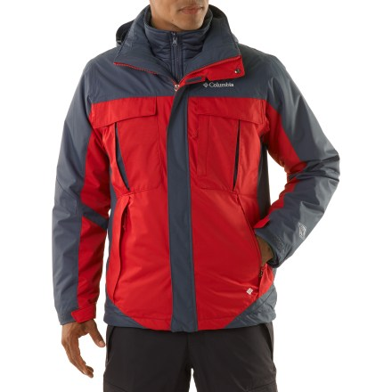 Ski All-purpose winter performance at a great price, the Columbia Bugaboo 3-in-1 insulated jacket comes with a removable liner jacket to enhance your outdoor experience. Omni-Tech(R) nylon shell resists abrasion and breathes well; critically taped seams and a waterproof coating block moisture. Nylon taffeta shell lining eases layering and wicks moisture away to keep you dry and comfortable. Adjustable hood detaches easily, so you can leave it behind when you don't want it. Shell features zippered handwarmer pockets, zippered chest pockets, a goggles pocket and an interior security pocket. Drawcord hem and adjustable rip-and-stick cuffs seal out the elements and help retain warmth. Full-length windflap blocks cold air entry through zipper; fleece-lined chin guard adds comfort. Adapt to the situation-wear waterproof parka with zip-in liner jacket for maximum weather protection, or wear either piece on its own. Columbia Bugaboo Interchange 3-in-1 jacket is fitted with the quick and easy zip-in interchange system, which secures liner jacket to shell parka or other Interchange shells. Removable zip-in/zip-out polyester liner jacket features100%, 80g polyester insulation; jacket also features zippered handwarmer pockets. - $190.00