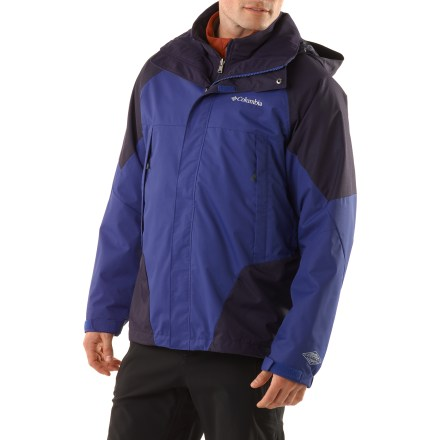 Ski Make a smart choice with the Columbia Erudite II Interchange insulated jacket. It has 3-in-1 versatility for a mixed bag of winter weather. Fully seam-taped Omni-Tech(R) nylon shell provides waterproof, breathable performance and high abrasion resistance. Critical seams are sealed to lock in core warmth and prevent leakage. Quick-drying, partially recycled polyester lining with polyester mesh eases layering and adds breathability and moisture management. Adjustable storm hood keeps your noggin warm and dry in a snowstorm; hood removes when you don't want it. Powder skirt seals out cold air and snow, retaining valuable heat; powder skirt snaps out of your way when not in use. Articulated elbows provide a natural fit and superior movement. Features rip-and-stick cuffs tabs and drawcord adjustable hem to seal out the elements. Plenty of storage with internal goggles pocket, internal media pocket and an internal security pocket. Removable soft shell liner jacket works great worn solo or layered with the shell. Liner jacket features twin zippered handwarmer pockets and drawcord adjustable hem to seal out the elements. Columbia Erudite jacket is fitted with the quick-and-easy 3-point Interchange System, which secures liner jacket to shell parka. - $153.93