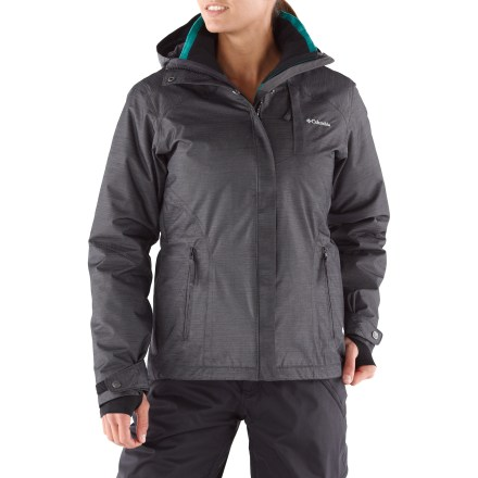 Ski The women's Columbia Alpine Alliance Interechange 3-in-1 insulated jacket will bolden you on your quest for the softest powder and sweetest runs. Wear the shell jacket and liner jacket together for serious warmth, or don either piece solo as weather warrants. Shell jacket features waterproof, breathable Omni-Tech(R) coating to keep you dry in all conditions; critical seams are taped to boost weather protection. 100g polyester insulation retains warmth for cozy comfort when you're playing in the snow. Storm hood is fully adjustable and protects you in inclement weather. Powder skirt with elastic gripper seals out cold air and snow and retains valuable heat; powder skirt snaps out of your way when not in use. Drawcord hem and adjustable rip-and-stick cuffs seal out the elements and retain warmth. Underarm venting keeps you cool in crucial spots. Zippered chest and handwarmer pockets provide dry, secure storage of small goodies; interior includes a security stash pocket and goggle pocket. Synthetic insulated liner jacket features Omni-Shield(R) advanced repellency to resist water and stains at the surface. Columbia Alpine Alliance jacket is fitted with a 3-point interchange system, which quickly secures liner jacket to shell parka. - $195.00