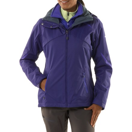 Ski The Columbia Bugaboo Interchange 3-in-1 insulated jacket for women features a removable fleece liner and winter-friendly features that give you performance at a great price! Omni-Tech(R) nylon shell resists abrasion and breathes well; critically taped seams and a waterproof coating block moisture. Nylon taffeta shell lining wicks moisture, dries quickly and holds its shape over layers. Adapt to the situation-wear waterproof parka with zip-in fleece liner jacket for maximum weather protection, or wear either piece on its own as weather warrants. Warm and highly breathable, removable polyester fleece liner jacket resists wind and water. Adjustable storm hood detaches easily so you can leave it behind when you don't want it. Zippered handwarmer pockets and an interior security pocket stash a few on-the-slopes essentials; interior also features a goggles pocket. Drawcord hem and adjustable rip-and-stick cuffs seal out the elements and retain warmth. Full-length windflap blocks cold air entry through zipper; fleece-lined chin guard adds comfort. Columbia Bugaboo 3-in-1 jacket for women is fitted with a zip-in and a 3-point interchange system that secures liner jacket to shell parka or other Interchange shells. Polyester microfleece liner jacket retains warmth for cozy comfort when you're playing in the snow; zippered handwarmer pockets. - $125.93