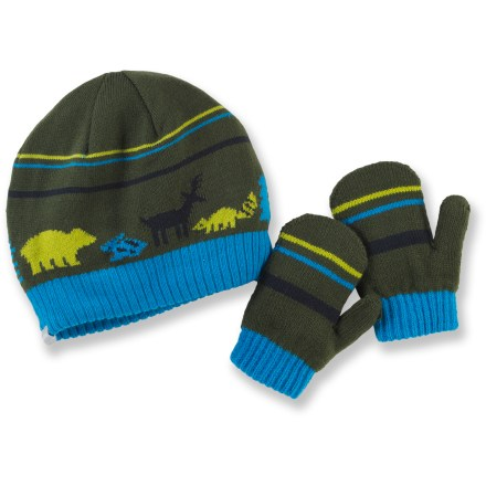 Entertainment The Columbia Bunny Hill set for little girls includes a matching hat and mittens for adorable warmth throughout the season. Cozy acrylic keeps her warm without being itchy or uncomfortable. Mittens have rib-knit cuffs to secure fit. Closeout. - $9.83