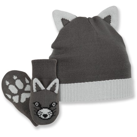 Entertainment For the sly, adorable tyke in your life, the Columbia Snow Fox hat and mittens set keeps little heads and hands warm. Soft acrylic retains warmth, continuing to insulate even if wet. Snow Fox set includes beanie and mittens; mittens have knit cuffs to secure fit. Closeout. - $10.83