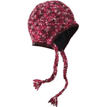 Ski The attractive Columbia Simply Spun(TM) Peruvian hat keeps your noggin warm when the temperature drops. Acrylic/wool yarn retains warmth and dries quickly when wet. Polyester microfleece lining increases warmth and comfort. Earflaps and tassels create playful style. Closeout. - $5.73