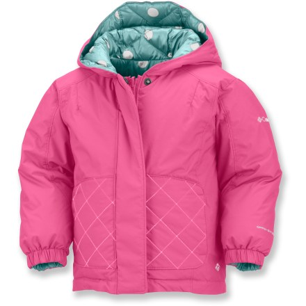 Snowboard The Columbia Jane Frosty Snow jacket and pants outfits your little one for winter play. Jacket and pants are reversible, giving them 4 different outfits. Durable nylon fabric features Omni-Shield(R) treatment for water repellency. Faux down insulation keeps them warm. Adjustable storm hood seals out the cold. Fleece-lined handwarmer pockets offer a warm refuge for cold fingers. Elastic waist and cuffs keep the snow out while tromping around. Closeout. - $40.73