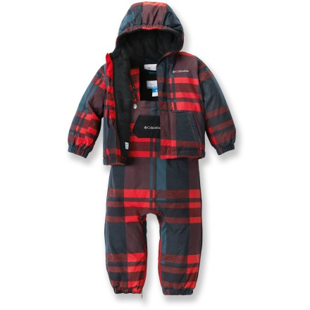 Ski The Columbia First Snow snowsuit set will help keep your little one dry and happy when he ventures out into a winter wonderland. Windproof nylon shell fabric with Omni-Shield(R) advanced repellency provides protection from light rain and wet snow. Polyester fleece lining feels soft, breathes well and wicks moisture. Polyester insulation throughout helps tame cold temperatures. The Columbia First Snow snowsuit set features a hood that adjusts for a snug fit; elastic cuffs help seal out snow. Adjustable snap suspenders customize bib pant fit. - $55.93