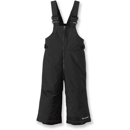 Ski The Columbia Snow Slope bib pants help protect toddlers from winter snow with durable fabric and practical features. Water-repellent nylon with Omni-Shield(R) advanced repellency provides a protective barrier from the elements and durable, long-lasting wear. Polyester insulation supplies warm comfort and low bulk for a trim fit. Nylon taffeta lining easily slides over layers and dries quickly. Grow cuffs extend the leg length to keep up with your child's growth. Adjustable suspender straps and rip-and-stick tabs secure fit; large front zipper aids entry. Columbia Snow Slope bib pants feature water-resistant gaiters that fit boots with gripper elastic to seal out the elements. - $49.95