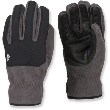 Ski These windproof Columbia Mount Snow gloves carry you through the season, from first frost to final chair. Windproof fleece features an Omni-Heat(R) thermal reflective lining to boost heat retention. Omni-Shield(R) advanced repellency fends off light rain and snow; it also resists stains. Durable polyurethane palms provide excellent grip. Abrasion-resistant overlays on knuckles stand up to aggressive wear. Elastic wrists on the Columbia Mount Snow gloves keep cold out. Closeout. - $19.93