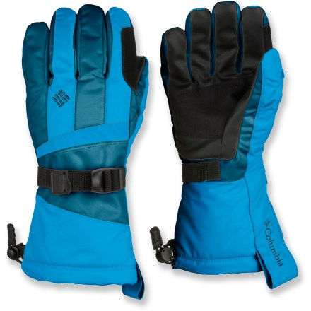 Ski These Columbia Whirlibird II women's gloves keep out the weather in a blizzard, and give you a firm hold on your board when you're tearing up the terrain park. Nylon twill fabric features warm, synthetic insulation with an Omni-Heat(R) thermal reflective lining to boost heat retention. Omni-Tech(R) waterproof breathable inserts keep your hands dry in snow and slush. Rugged polyurethane grip palms hold up to ski poles and snowboard edges. 1-hand-adjustable cuff gauntlets lock in warmth and keep snow out. Columbia Whirlibird II gloves feature a soft nose wipe on thumbs to catch drips. Closeout. - $20.83