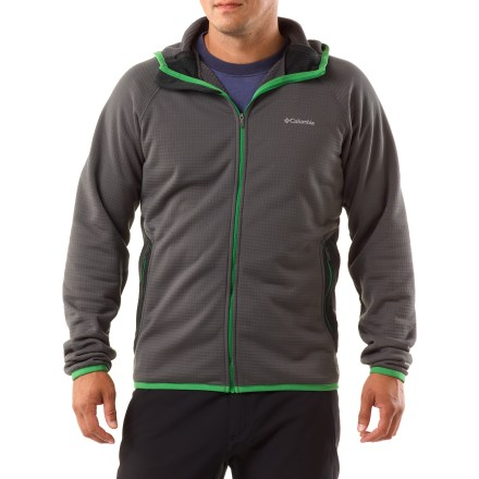 Camp and Hike The Columbia Grid Grit full-zip jacket wicks moisture, breathes well and,with its active fit, provides comfort in any situation where you want to move freely. Made from polyester grid fleece; striped grid fleece accents on back, pockets and partial hood add design interest but don't affect performance. Omni-Wick(TM) treatment moves moisture away from the body and helps perspiration evaporate quickly. 4-way stretch boosts mobility and comfort. Elastic-bound hood, cuffs and hem. Columbia Grid Grit jacket has 2 zip hand pockets to stash necessities. - $36.83