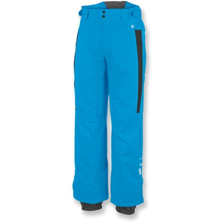Ski Whether you're slaying powder or chilling on the lift, these Columbia Bugaboo Tech pants keep wet weather at bay. Nylon twill shell features an Omni-Tech(R) waterproof breathable coating to keep snow and slush out. 60g synthetic insulation provides just the right amount of warmth. Sealed critical seams ensure waterproofness. High N Dry back waistband can flip up for an extra-tall barrier against snow. Strategic, no-snag vents let you dump heat in a hurry; mesh panels ensure that snow won't sneak in. Snap gussets at the cuffs of the Columbia Bugaboo Tech pants offer easy on/off over boots. Reinforced cuff guards prevent boot and edge abuse. Closeout. - $64.93