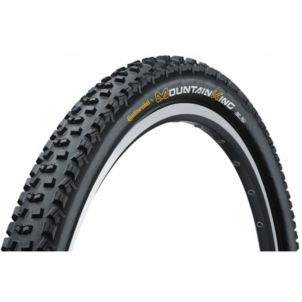 MTB The Continental Mountain King 2 mountain bike tire uses an open, aggressive tread to provide solid traction and mud-clearing performance. - $17.93