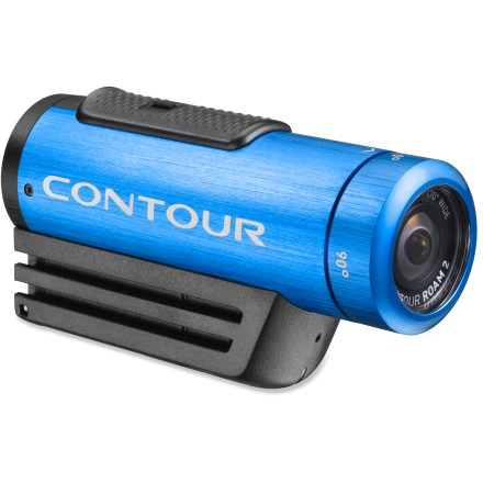 Ski Step it up a level with the blue Contour Roam2 wearable camcorder and bring some color to your life. With instant-on simplicity, this cam makes it easy capture memorable moments from your adventures. Instant-on record switch powers the camera on and immediately starts recording so you won't miss the shot you want. Capture all the background scenery and action that happens off to the side with the 170deg super wide-angle lens. Camera technology automatically adjusts the exposure and white balance to give you crisp, beautiful video. Choose between shooting high-definition video at 1080p or 960p at 30 frames per second or 720p at 60 frames per second; you can also take 5-megapixel stills at set intervals. Low-profile camera weighs only 5.1 oz. and mounts easily to a helmet or other surface with the included profile mount and rotating flat surface mount. ROAM2 provides IPX7 waterproof protection so there's no need to worry about the camera if you're caught in the rain; waterproof down to 1m. For full-submersion sports, such as surfing or scuba diving, you'll want to pick up a waterproof case (not included) for protection down to 60m. Lens ring rotates 270deg to so you can mount the camera on its side or upside down and still get the shot you want. Use the laser line beam to make sure the rotating lens ring is aligned with the horizon so your footage comes out looking great. Accepts microSD cards up to 32GB (sold separately); record up to 8 hrs. of footage when shooting in full 1080p mode. Built-in, multidirectional microphone captures the audio that accompanies your adventures. Integrated rechargeable lithium ion battery allows up to 3.5 hrs. of recording time at 720p. Connect the camera to a computer via a USB port to recharge the battery; battery will reach 80% charge in about 1 hr. and a full charge in 3 - 4 hrs. Press the status button to check remaining battery power and available memory. - $199.95