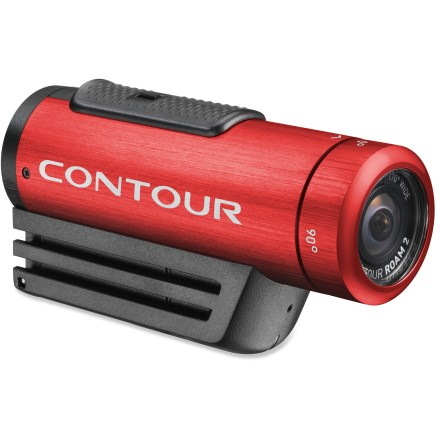 Ski Step it up a level with the red Contour Roam2 wearable camcorder and bring some color to your life. With instant-on simplicity, this cam makes it easy capture memorable moments from your adventures. Instant-on record switch powers the camera on and immediately starts recording so you won't miss the shot you want. Capture all the background scenery and action that happens off to the side with the 170deg super wide-angle lens. Camera technology automatically adjusts the exposure and white balance to give you crisp, beautiful video. Choose between shooting high-definition video at 1080p or 960p at 30 frames per second or 720p at 60 frames per second; you can also take 5-megapixel stills at set intervals. Low-profile camera weighs only 5.1 oz. and mounts easily to a helmet or other surface with the included profile mount and rotating flat surface mount. ROAM2 provides IPX7 waterproof protection so there's no need to worry about the camera if you're caught in the rain; waterproof down to 1m. For full-submersion sports, such as surfing or scuba diving, you'll want to pick up a waterproof case (not included) for protection down to 60m. Lens ring rotates 270deg to so you can mount the camera on its side or upside down and still get the shot you want. Use the laser line beam to make sure the rotating lens ring is aligned with the horizon so your footage comes out looking great. Accepts microSD cards up to 32GB (sold separately); record up to 8 hrs. of footage when shooting in full 1080p mode. Built-in, multidirectional microphone captures the audio that accompanies your adventures. Integrated rechargeable lithium ion battery allows up to 3.5 hrs. of recording time at 720p. Connect the camera to a computer via a USB port to recharge the battery; battery will reach 80% charge in about 1 hr. and a full charge in 3 - 4 hrs. Press the status button to check remaining battery power and available memory. - $199.95