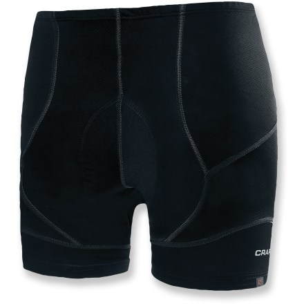 Fitness For training and competition alike, the women's Craft Pro Race bike shorts keep your legs pedaling through the miles. Nylon/spandex blend wicks moisture and dries quickly, with a next-to-skin fit designed to enhance speed. Waistband features elastic in back and soft, forgiving stretch fabric in the front for comfort when riding in aerodynamic position. Seam-free chamois reduces likelihood of friction or pressure points. Flatlock seams discourage chafing. The Craft Pro Race bike shorts include wide, comfortable hems with printed silicone grippers that hold legs in place. Closeout. - $44.83