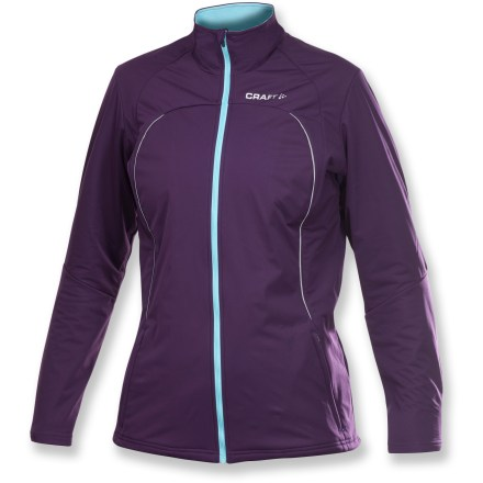 Ski This lightweight and stretchy Craft PXC Storm women's jacket supplies great comfort and performance for wintertime aerobic activities. Sturdy polyester fabric at front features a laminated layer for exceptional wind-blocking performance; slight stretch to fabric and soft hand ensure movement and comfort. Stretchy polyester knit fabric panels maximize breathability and easy motion; brushed interior enhances comfort. Pre-shaped sleeves feature strategically placed seams to facilitate great freedom of movement. Zippered handwarmer pockets are great for stashing small essentials. Full-length zipper makes it easy to regulate comfort on the go; collar is lined with brushed fleece for next-to-skin comfort. Reflective hits on the Craft PXC Storm jacket increase visibility in low light. - $97.93