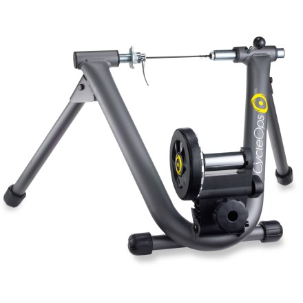 Fitness CycleOps Mag bike trainer's unique design incorporates a flywheel for an unbeatable smooth and quiet ride. Five-position adjustment makes it easy to vary your workouts; training DVD included. Sturdy steel construction, bolt-action, quick-release lever, foldable legs and leveling feet provide worry-free training. Great for cyclists looking to stay in shape all year round. - $171.00