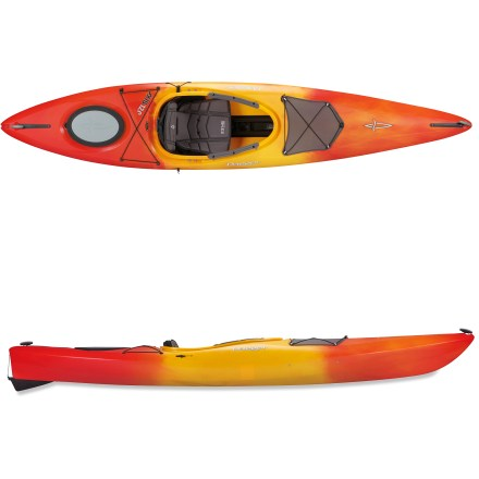Kayak and Canoe New to paddling and ready to go full-steam ahead? The Dagger Axis 12 kayak with skeg offers a versatile design that keeps performing right along with your increasing level of skill. White-water inspired design is suitable for quick-moving rivers, stillwater lakes and light surf; when you're ready for waters that present a challenge, so is the Axis 12. 12 ft. length maintains speed and enhances ease of motion when you're looking to cover water, and an integrated beam stiffens the hull to keep you in control when turning. Stable hull inspires confidence for beginners, and defined chines enhance maneuverability. Rotomolded polyethylene construction offers performance, responsiveness and rugged durability. Height-adjustable, drop-down skeg reduces the tendency of the kayak to weathercock in strong winds and currents and enhances tracking. Soft foam seat features a height-adjustable backrest, leg lifters, and thigh pads in the cockpit. Roomy cockpit makes it easy for large paddlers to enter kayak, and sliding foot pegs lock in to adjust the fit for multiple paddlers. Mesh pocket attached to the bow deck offers secures storage for small accessories, and it's within easy reach. Rear hatch provides enough storage for an overnight trip. Carry handles ease transport to the water. - $720.93