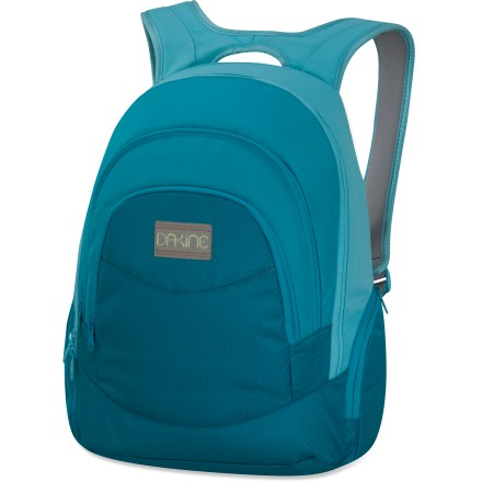 Camp and Hike Crown yourself with the DAKINE Prom laptop pack, which totes your school and work neccesities, including a 14 in. laptop, in comfort and style. Main compartment offers plenty of room for carrying your essentials; internal padded laptop sleeve fits most 14 in. laptops. Zippered front pocket features multiple compartments and pen slots to let you keep small items and gadgets organized. Insulated cooler pocket at very front keeps your energy drinks or water cold and refreshing. The DAKINE Prom laptop pack has 2 zippered side pockets to keep a water bottle and sunglasses within easy reach. - $37.93