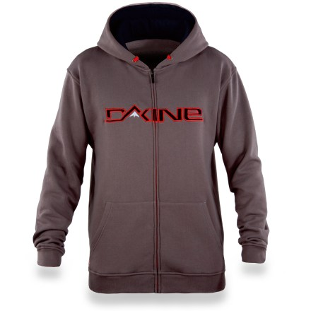 Surf Kick back in the DAKINE Mountain Rail hoodie after grinding hard all winter. Cotton and polyester create the perfect balance of natural comfort, warmth and easy care. Cotton jersey-lined hood cinches with drawcord. Front kangaroo-style pockets offer a cozy spot for your hands; full-zip front. Closeout. - $34.93