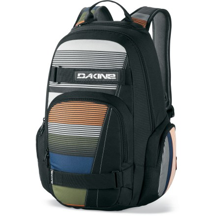 Skateboard Carry your day-to-day essentials in comfort and style with the DAKINE Atlas daypack. Skate carrying straps included, so you never have to leave your skateboard behind. Main zippered compartment and front organizer pocket. Includes 2 zip side pockets for extra storage and a fleece-lined sunglass pocket. DAKINE Atlas daypack has a padded back panel and adjustable shoulder straps. - $30.93
