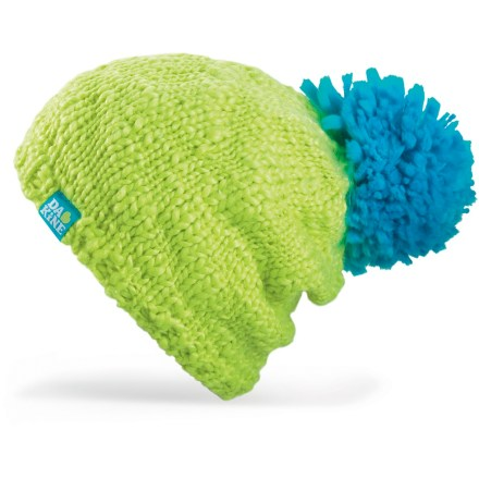 Entertainment Enjoy your stroll down snow-covered streets with the colorful DAKINE Alex hat. Hand-knit acrylic exterior has an oversized pom-pom on top that gives that hat a distinct look. Polyester fleece headband lining adds warmth. - $14.83